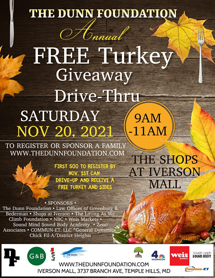 The Dunn Foundation Annual Turkey Giveaway Drive  Thru image