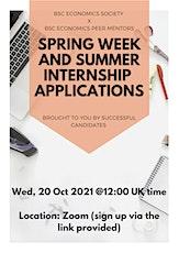 BSc Economics Spring Week x Summer Internships tickets