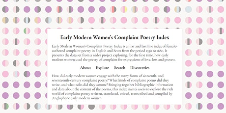 Visualising the Database: Early Modern Women's Complaint Poetry Index tickets