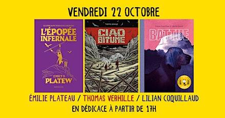Émilie Plateau, Thomas Verhille et Lilian Coquillaud en dédicace billets