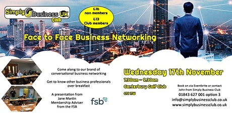 Simply Business Club Face to Face Networking - Canterbury, Kent tickets