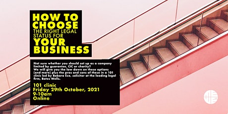 101 Clinic: How to choose the right legal status for your business tickets