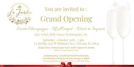 Le Jardin Grand Opening Soiree Champagne tickets