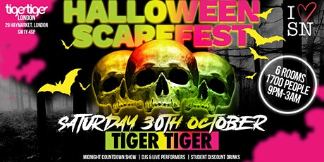 Halloween Scarefest at Tiger Tiger London // Sat 30th Oct // 6 Rooms tickets