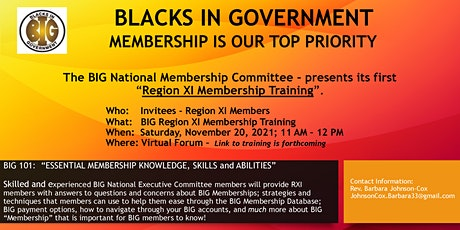 BIG National Membership Training - Region XI tickets