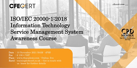 ISO/IEC 20000-1:2018 ITSMS Awareness Course tickets