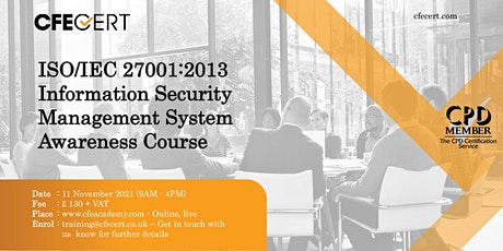 ISO/IEC 27001:2013 ISMS Awareness Course tickets
