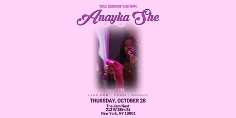 "Anayka She: ""Soul Sessions"" Live tickets"