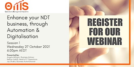 Enhance your NDT Business through Automation and Digitalisation tickets