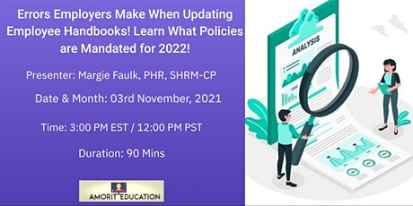 Updating Employee Handbooks! Learn What Policies are Mandated for 2022! tickets