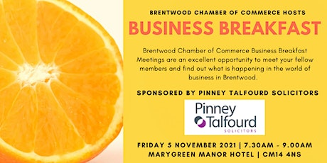 November 2021 Brentwood Chamber of Commerce Business Breakfast tickets