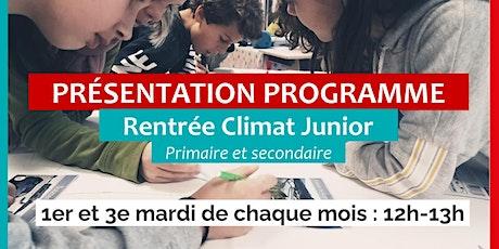 Rentrée Climat Junior - Présentation du dispositif billets
