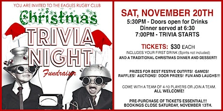 GOLD COAST EAGLES RUGBY CLUB - CHRISTMAS TRIVIA NIGHT FUNDRAISER! tickets