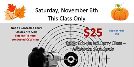Basic Concealed Carry Class  $25-  Fall Special entradas