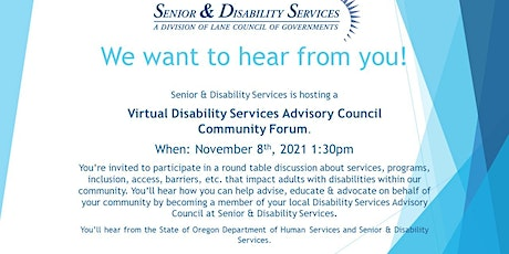 Disability Services Advisory Council Community Forum tickets
