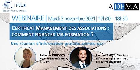 Certificat Management des associations : comment financer sa formation ? billets