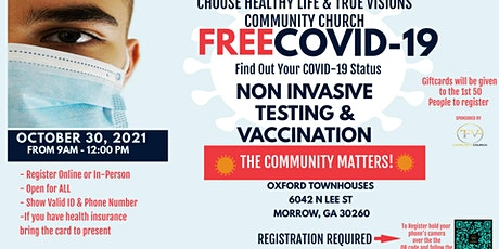 Community Matters Covid Testing and Vaccination tickets