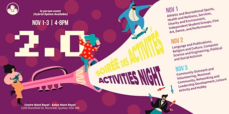 Activities Night 2.0 In Person Fair + Hybrid Option tickets