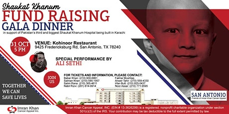 Shaukat Khanum Fundraising Gala Dinner in San Antonio, USA tickets