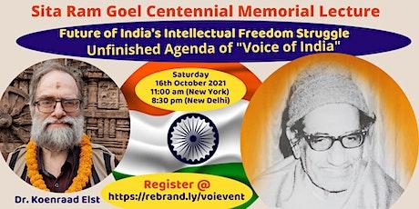 Sita Ram Goel Centennial Memorial Lecture 2021 tickets