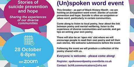 Spoken word event: stories of suicide prevention and hope tickets