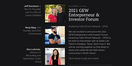 2021 GEW Entrepreneur & Investor Forum hosted by Faith Driven Network - DFW tickets