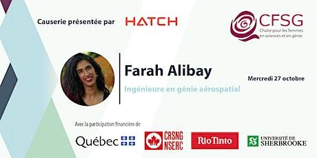 Causerie avec Farah Alibay, ingénieure en aérospatial - Présentée par Hatch billets