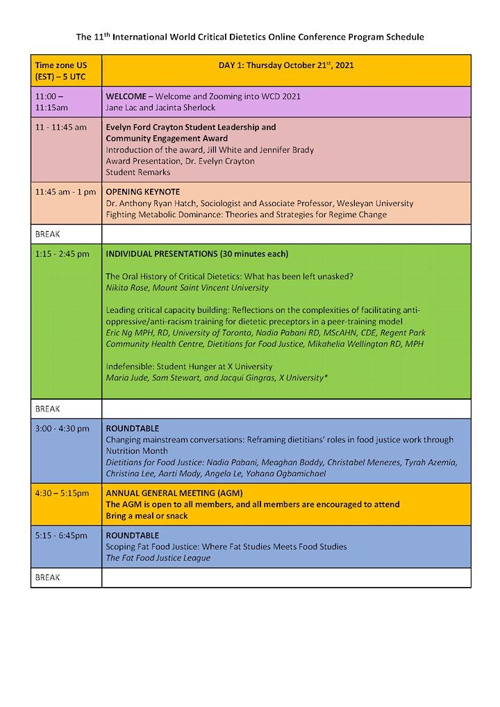 World Critical Dietetics Conference 2021 image