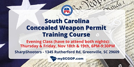 Greenville GOP CWP Concealed Weapon Permit Training Course $50 PP tickets