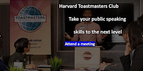 Harvard Toastmasters Virtual Meeting on Tuesday, Oct 19 2021 tickets