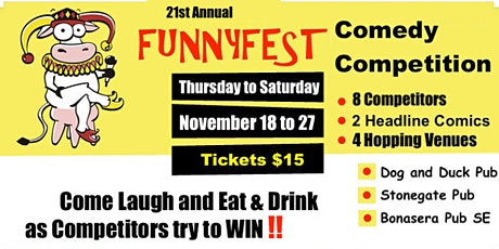 Comedy Competition - 3 Venues - 8 Competitors and 2 headliners per show YYC tickets
