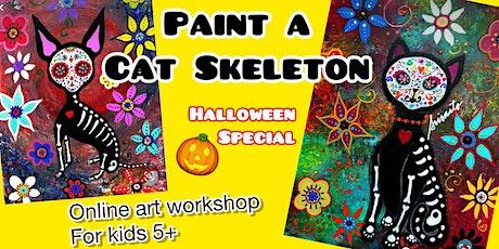 Paint a Cat Skeleton - Online Art Workshop for kids 5+ - Halloween Special tickets