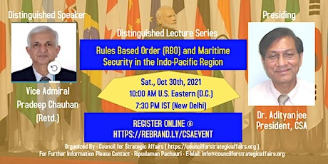 """""""Rules Based Order (RBO) and Maritime Security in the Indo-Pacific Region"""" tickets"""