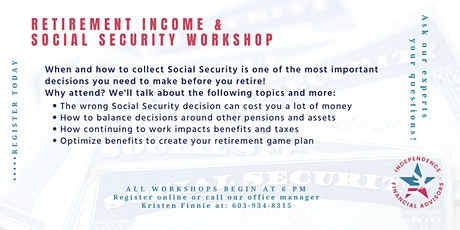 Retirement Income & Social Security Workshop-LIVE WEBINAR tickets