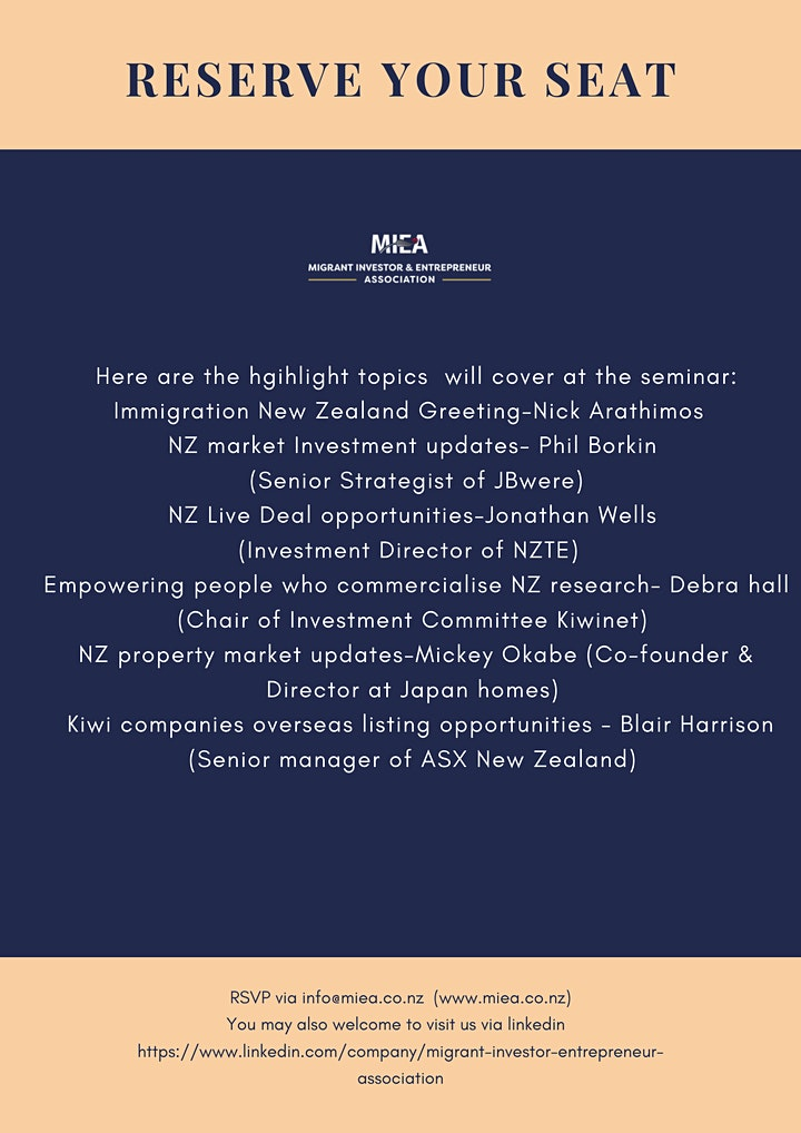 MIEA virtual seminar with NZ investment market updates image