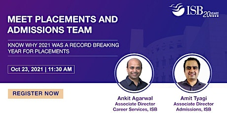 Interact with Placements and Admissions teams of ISB. tickets