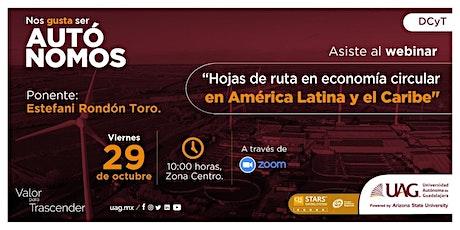 """Webinar """"Hojas de ruta en Economía Circular en América Latina y el Caribe"""" entradas"""