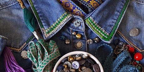 Embroidery embellishment - upcycle your clothes tickets