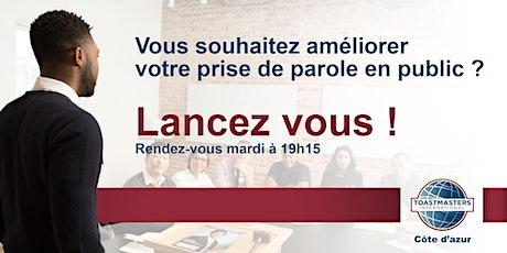 Soirée prise de parole Toastmasters Côte d'Azur en live billets