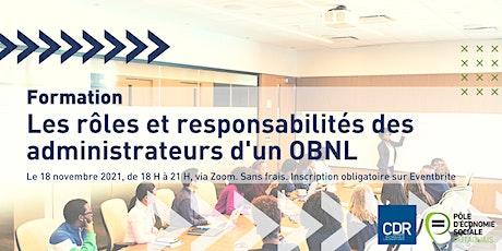 Les rôles et responsabilités des administrateurs d'un OBNL billets