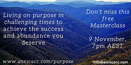 Living on purpose  in challenging times Masterclass tickets