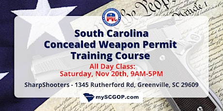 Copy of Greenville GOP CWP Concealed Weapon Permit Training Course $50 PP tickets