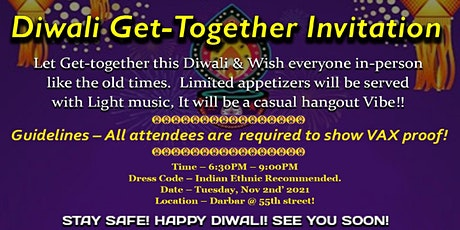 Special Diwali Celebration Soiree - Meet ! Mingle ! Celebrate ! tickets