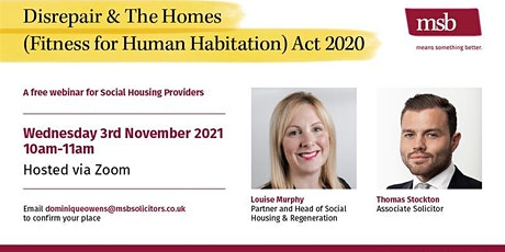 MSB  – Disrepair & The Homes (Fitness for Human Habitation) Act 2020 tickets