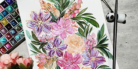 Watercolor Florals & Brush Lettering Course starts Jan 6(8 Sessions) tickets