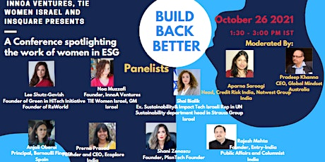 Build Back Better Together India Israel Women in ESG tickets