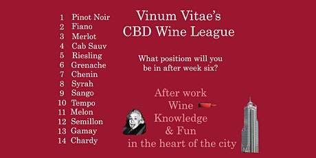 CBD Wine League - 6 Weekly After work Wine Tastings with Quiz and Prizes tickets