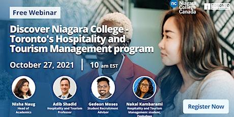 Discover Niagara College - Toronto's Hospitality and Tourism Management Pro tickets