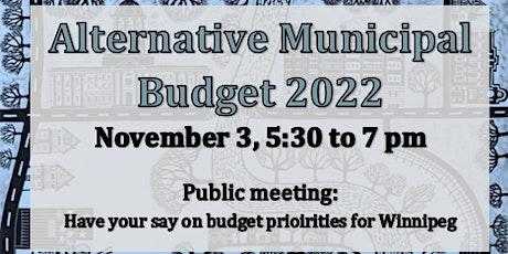 Alternative Municipal Budget Winnipeg 2022: Public Meeting tickets