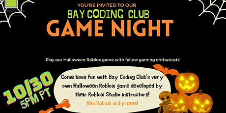 Free Bay Coding Club Game Night! Play Roblox Games and Win Prizes! tickets